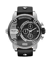Diesel Men's Round Stainless Steel with Black Leather Strap Watch