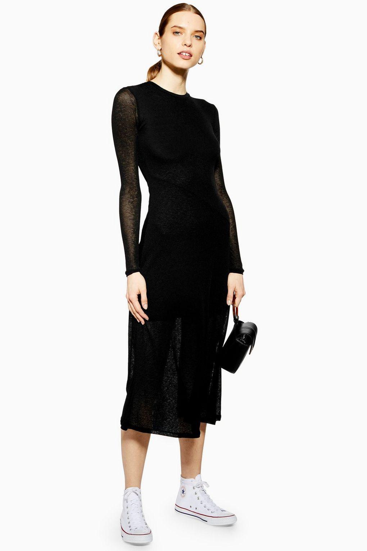 Long Sleeve Mesh Midi Dress New In Dresses New In Topshop Usa Black Long Sleeve Midi Dress Top Shop Dress Ribbed Bodycon Midi Dress [ 1530 x 1020 Pixel ]