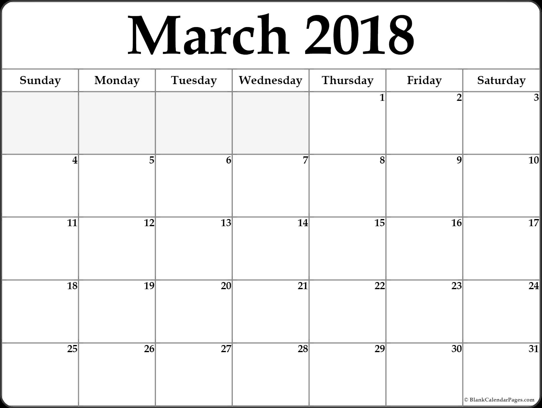 march calendar printable 2018