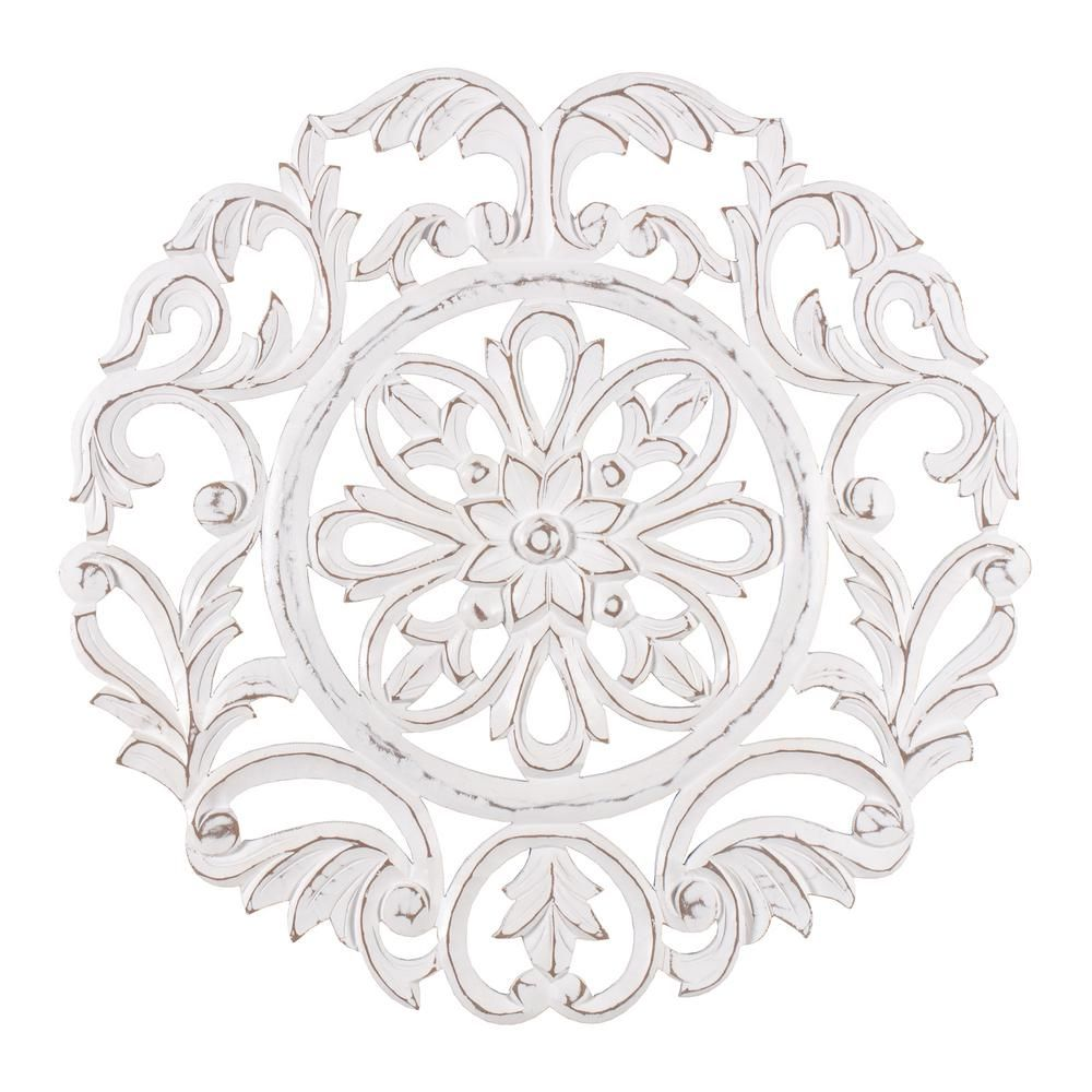 Madeleine Home Lassi 23 5 In X 23 5 In White Medallion By Madeleine Home Wooden Wall Art Sculptures Mh Md 13007wt The Home Depot Wall Medallion Medallion Wall Art Wall Sculpture Art