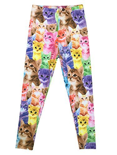 Bhome Little Girls Stretchy Cotton Cat Leggings Kid's Ela...