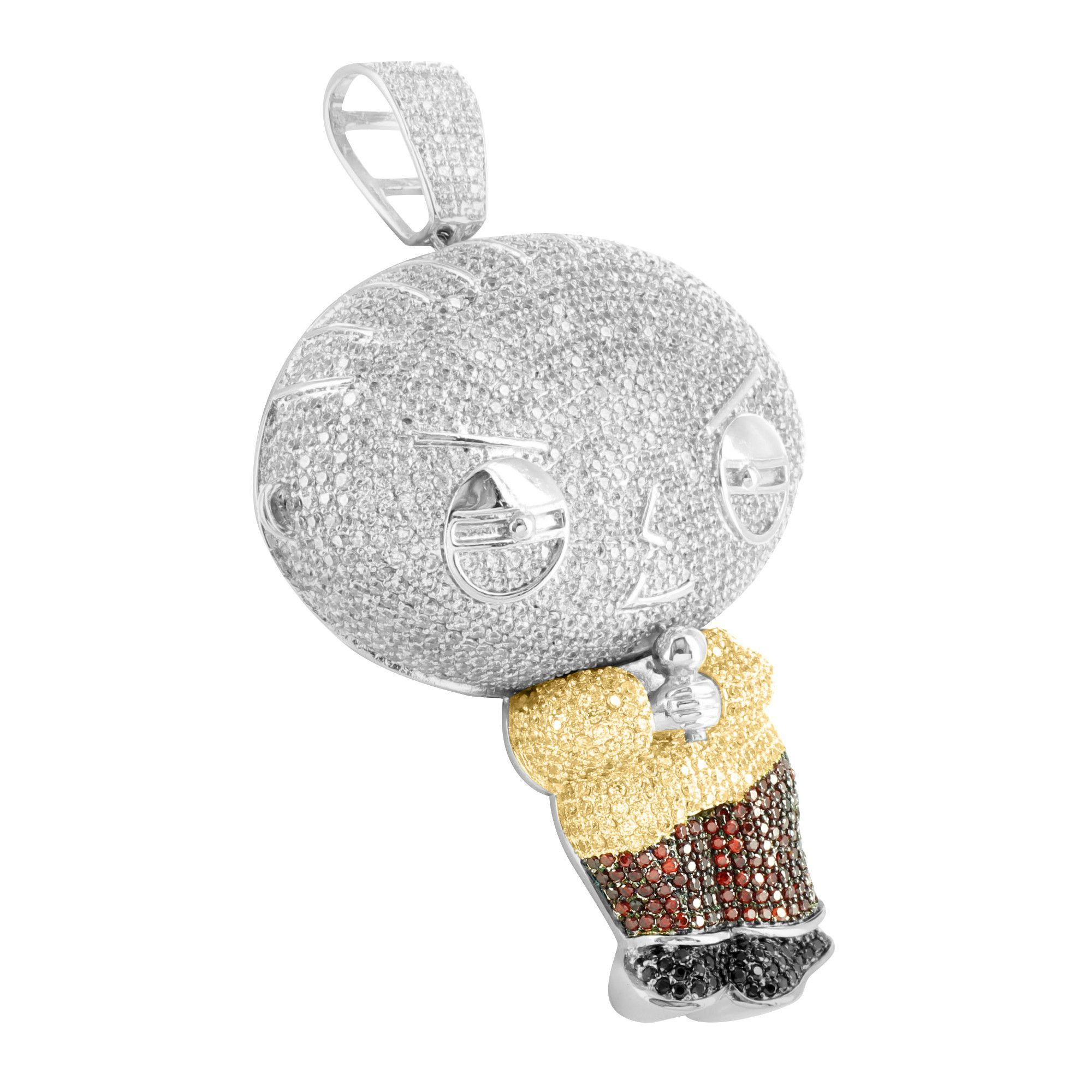 White gold finish cartoon stewie holding mic multi tone lab diamond this cartoon character pendant features lab diamonds throughout its forefront the pendant is wrapped around in white gold finish aloadofball Choice Image