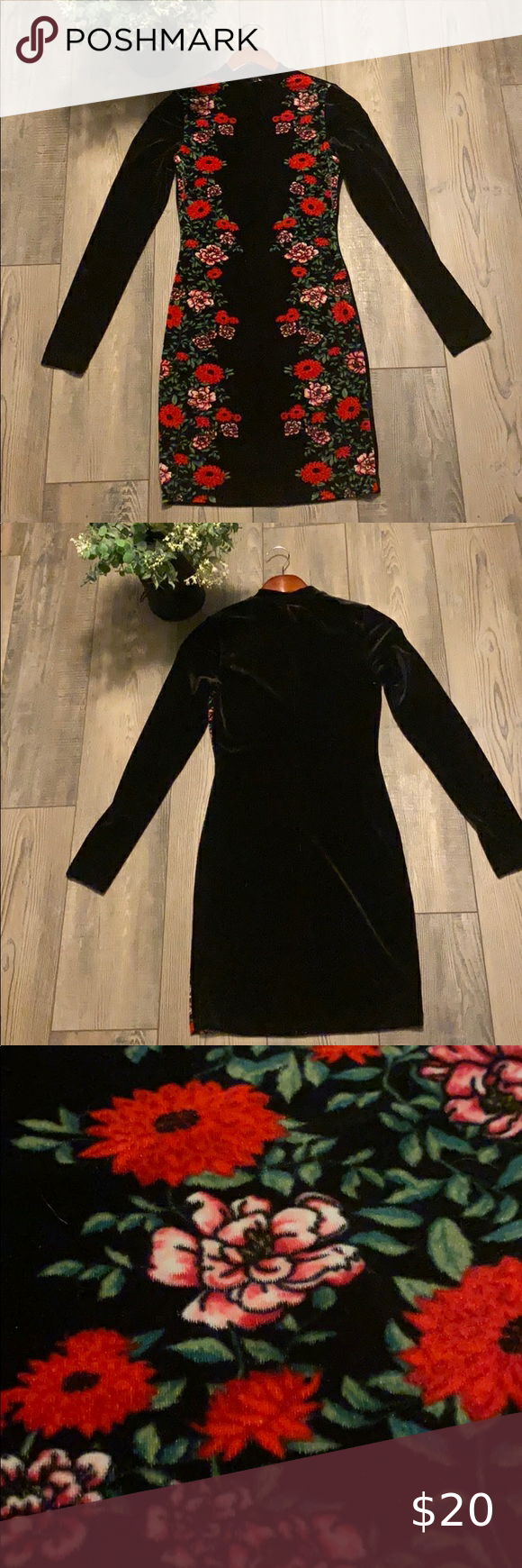 Velvet Black Dress With Flowers Velvet Texture Front And Back Red Flowers Only On Front 92 Polyester O Black Flower Dress Black Velvet Dress Flower Dresses [ 1740 x 580 Pixel ]