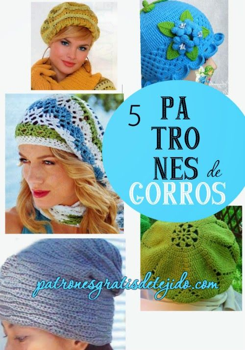 5 patrones de gorros tejidos al crochet | GORROS MANNELL | Pinterest ...