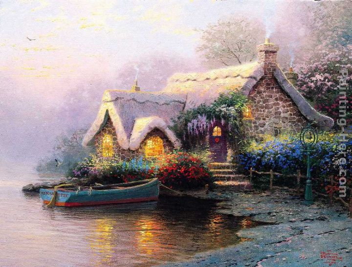 lochaven cottage art thomas kinkade pinterest thomas kinkade pinturas y arte. Black Bedroom Furniture Sets. Home Design Ideas