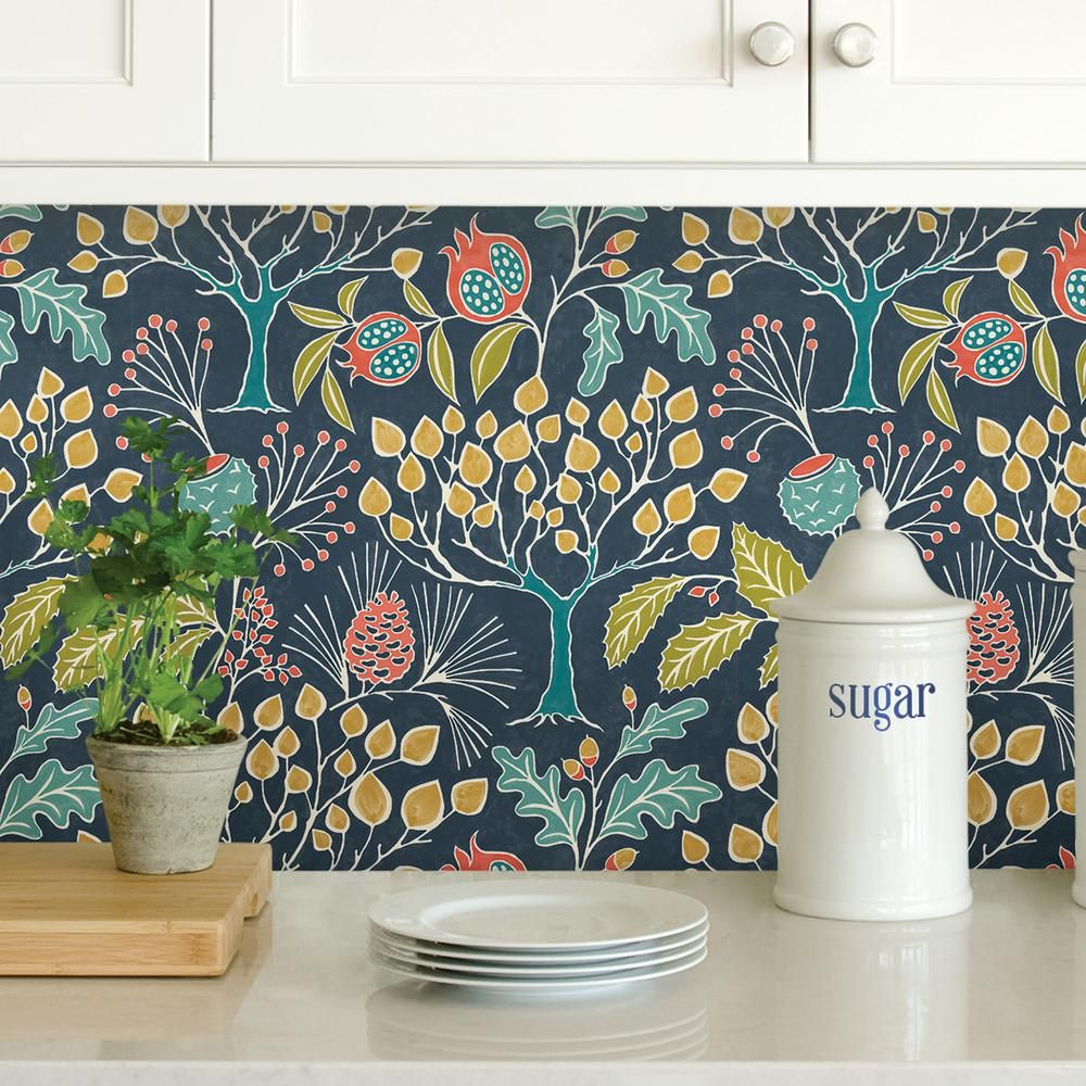 Nuwallpaper Groovy Garden Navy Peel And Stick Wallpaper Multi