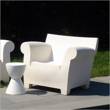 Molded Plastic Patio Furniture.The Bubble Chair Designed By Philippe Starck And Made Of White