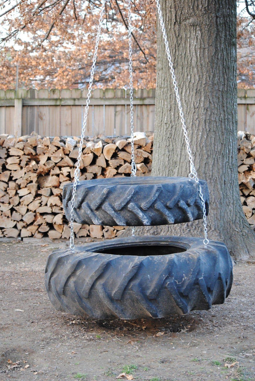 26 Playful Tire Swings That You Can Build Yourself Traktorreifen Spielplatz Garten