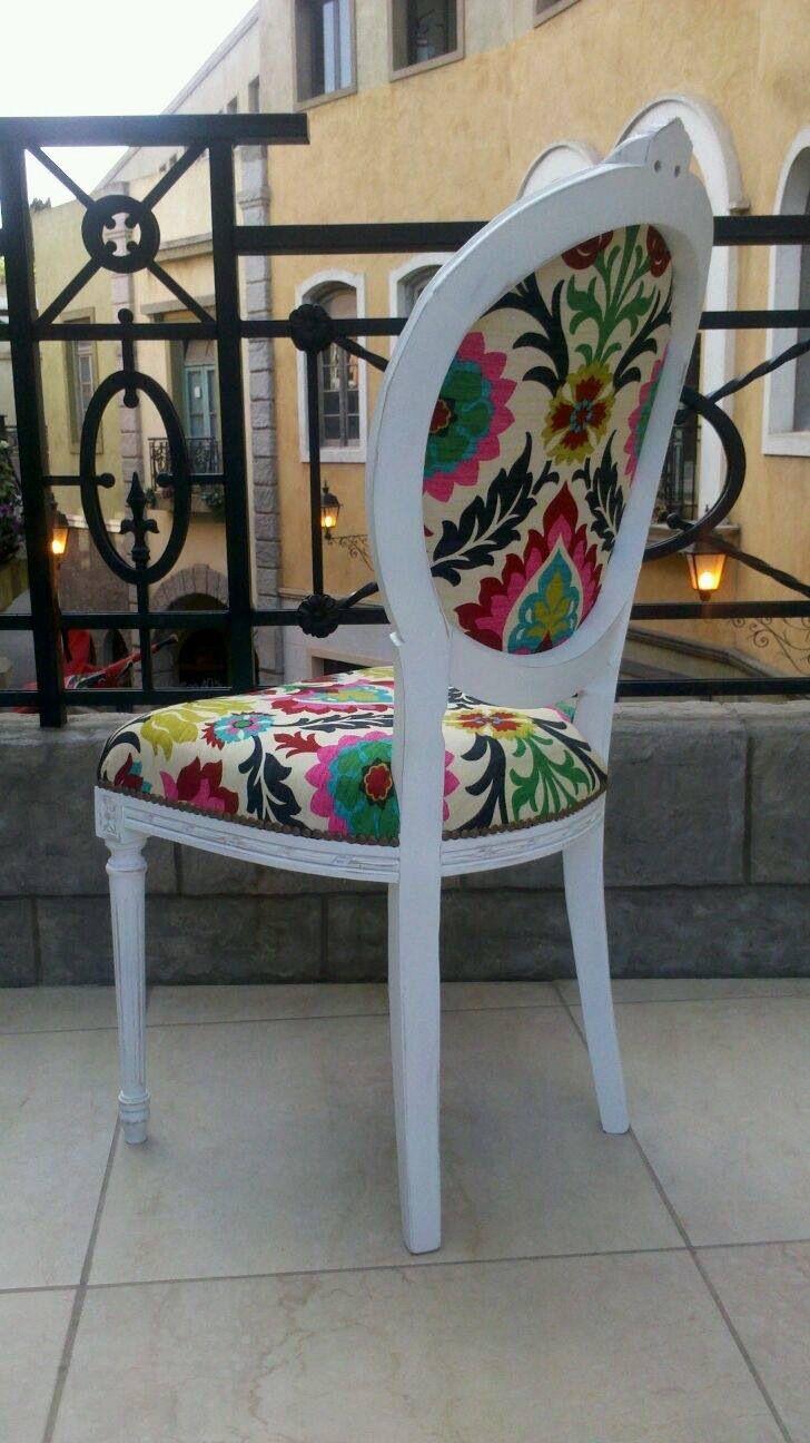 Silla luis xv tapizada con g nero santa maria sillas y sillones de estilo pinterest - Sillas provenzal tapizadas ...