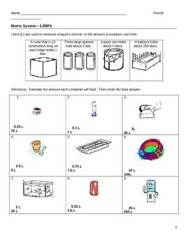 Worksheet Metrics Liters and Milliliters | Worksheets, Students ...