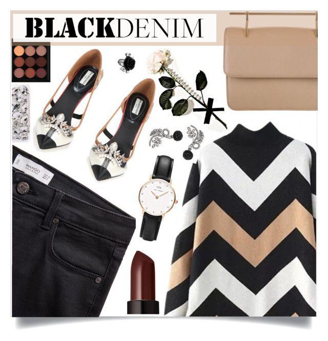 """Black Denim"" by sonny-m ❤ liked on Polyvore featuring MANGO, Balenciaga, M2Malletier, MAC Cosmetics, Laura Mercier, Daniel Wellington, Iphoria, Mawi, women's clothing and women's fashion"
