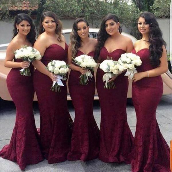 Elegant Sweetheart Lace Mermaid Cheap Long Bridesmaid Dresses ... d36e633d4121