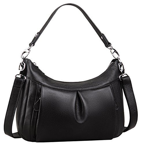 Heshe New Casual Fashion Women s Ruffled Soft Tote Top Handle Handbag  Shoulder Bag Cross Body Cute Satchel (Black-H)    For more information 0ca86d769fcb6