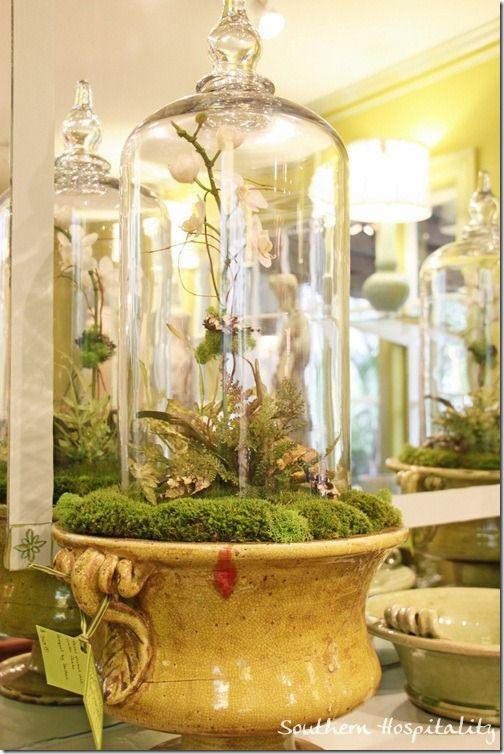 beautiful glass cloche in urn from Boxwoods Gardens, Atlanta