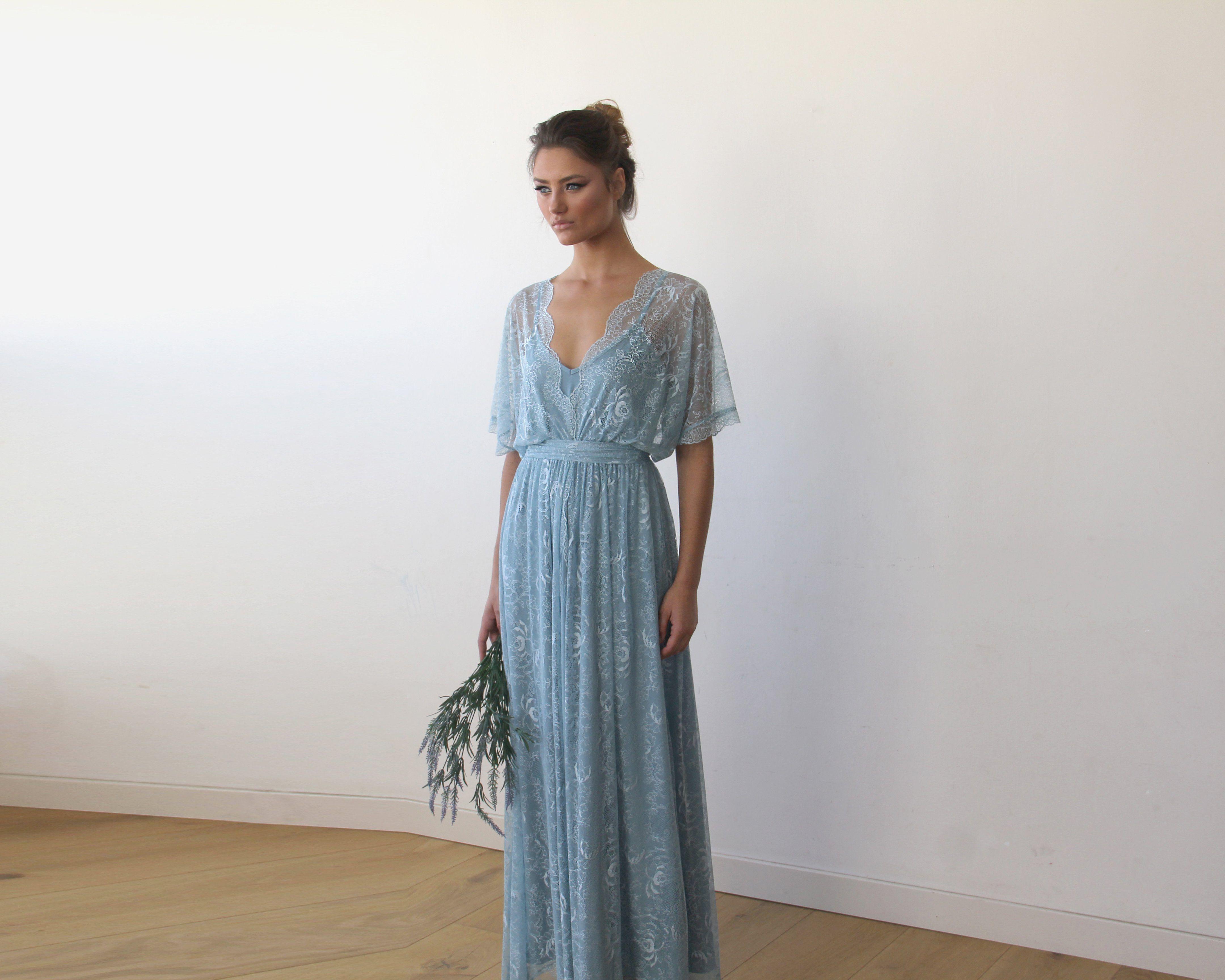 Maxi dress for wedding  Aqua Blue sheer lace maxi dress   Weddings