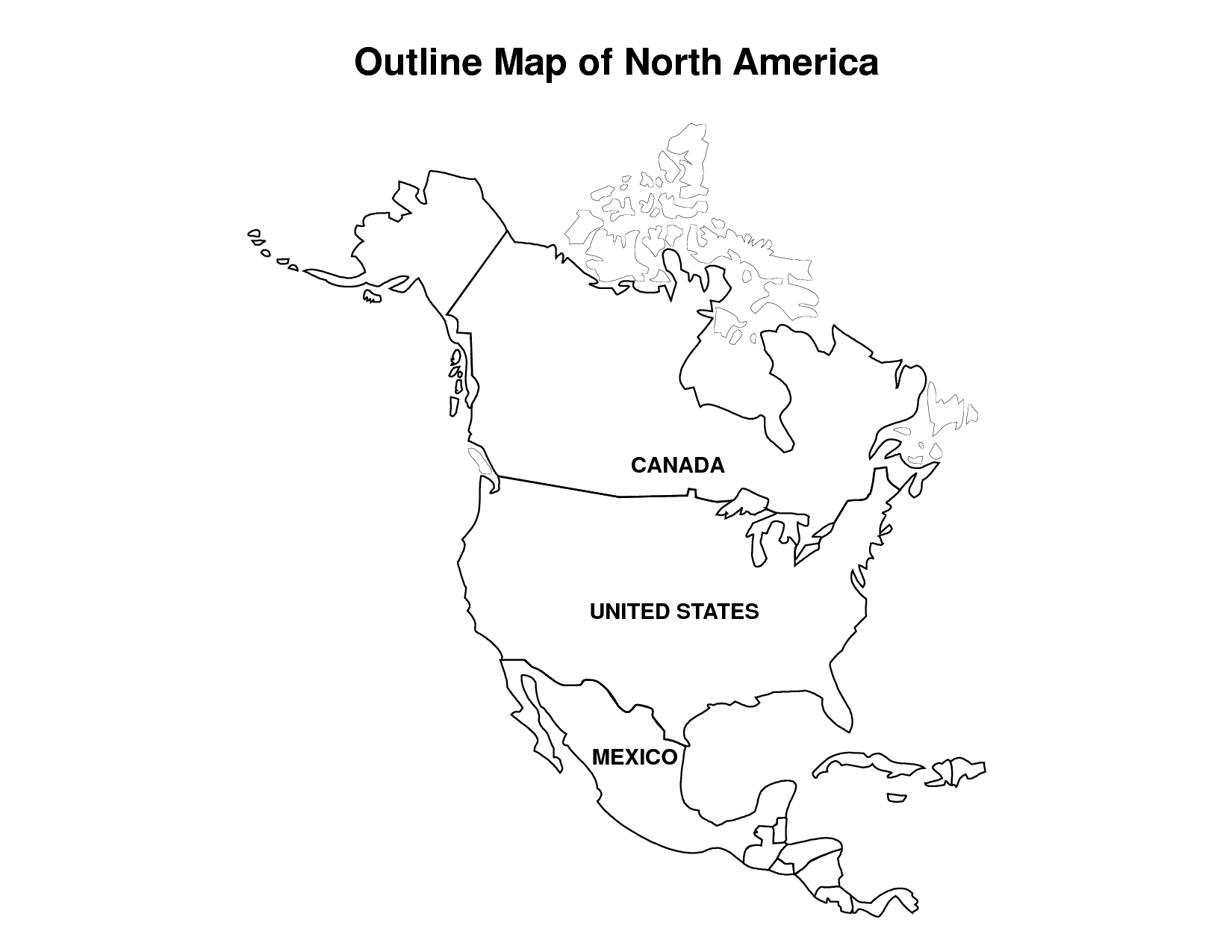 Outline Map Of Usa Canada And Mexico With North America Map Coloring ...