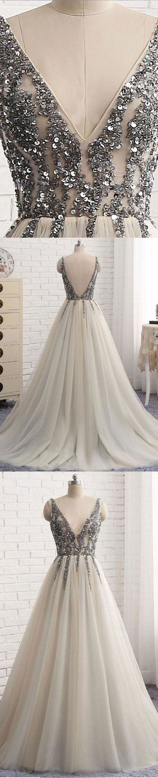 V neck long prom dresses with silver sequined backless long prom