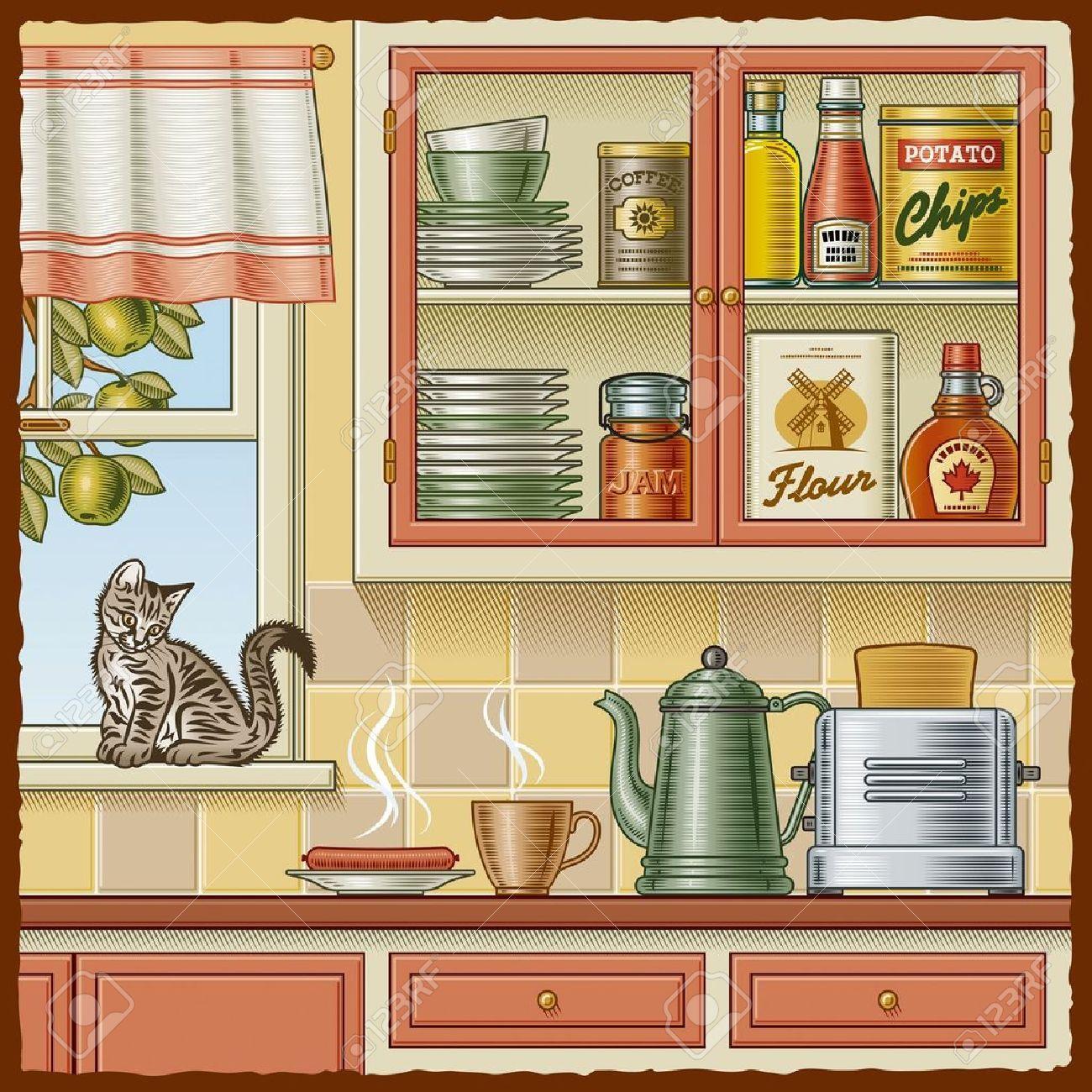 Dibujos Para Cocina Vintage Buscar Con Google Cocinas Retro Fotos Con Gatos Retro