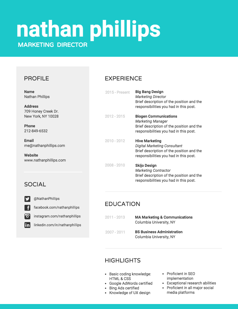 Marketing Professional Resume Infographic resume, Best