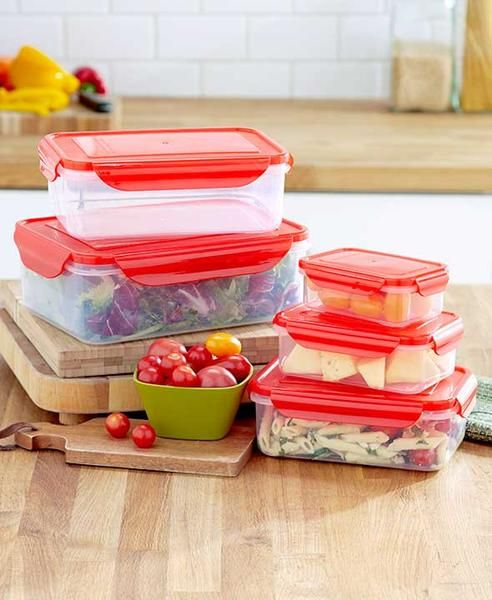 With this 10 Pc Locking Lid Food Storage Containers Set you save