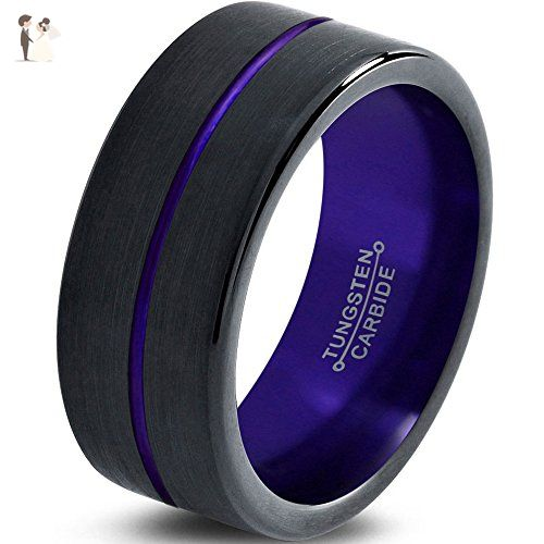 Tungsten Wedding Band Ring 4mm 6mm 8mm 10mm 12mm For Men Women Black Purple Center Lin Tungsten Wedding Bands Wedding Ring Bands Tungsten Carbide Wedding Bands