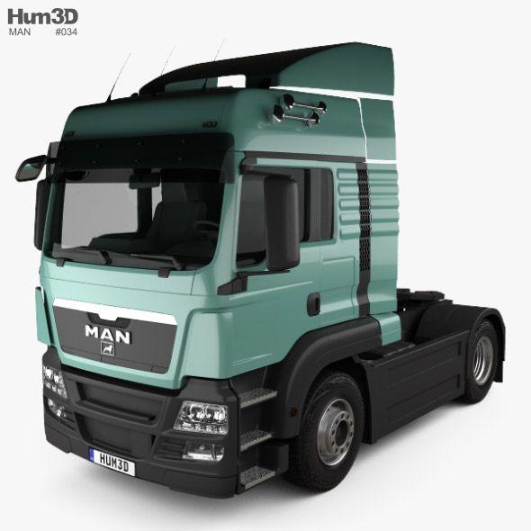 MAN TGS Tractor Truck 2-axle 2012. Fully customizable 3D model of a truck. #3D #3DModel #3DDesign #truck #VR #AR #2-axle #2012-2019 #german #germany #heavy #industrial #man #ManTgs #tgs #tractor #trucks