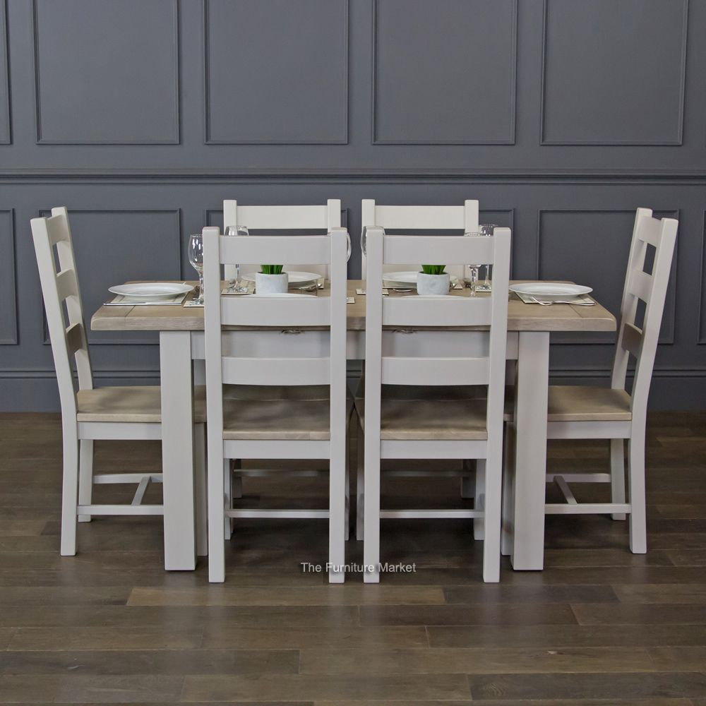 Grey Stone Painted Small Extending Dining Table And 6 Chairs Set