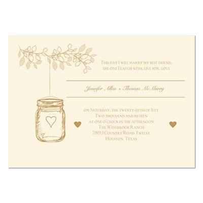 Lantern Jar Wedding Invitation Ecru