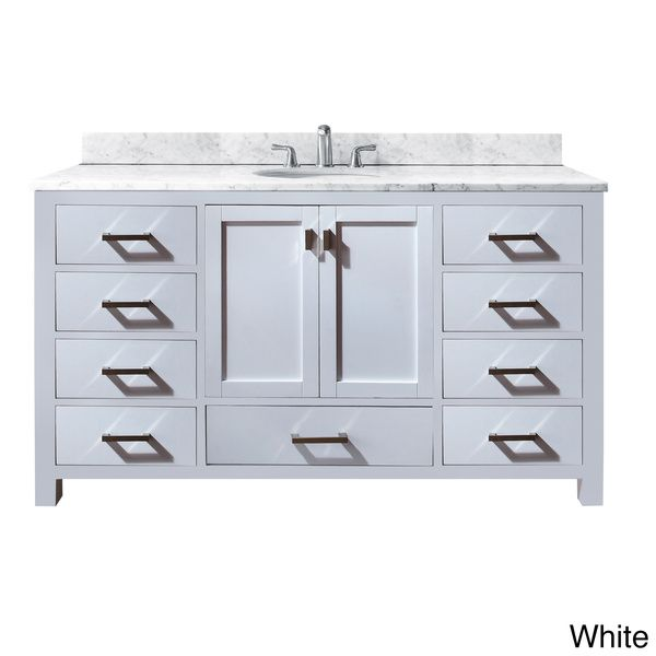 Avanity Modero 60-inch Single Vanity in White Finish with Sink and