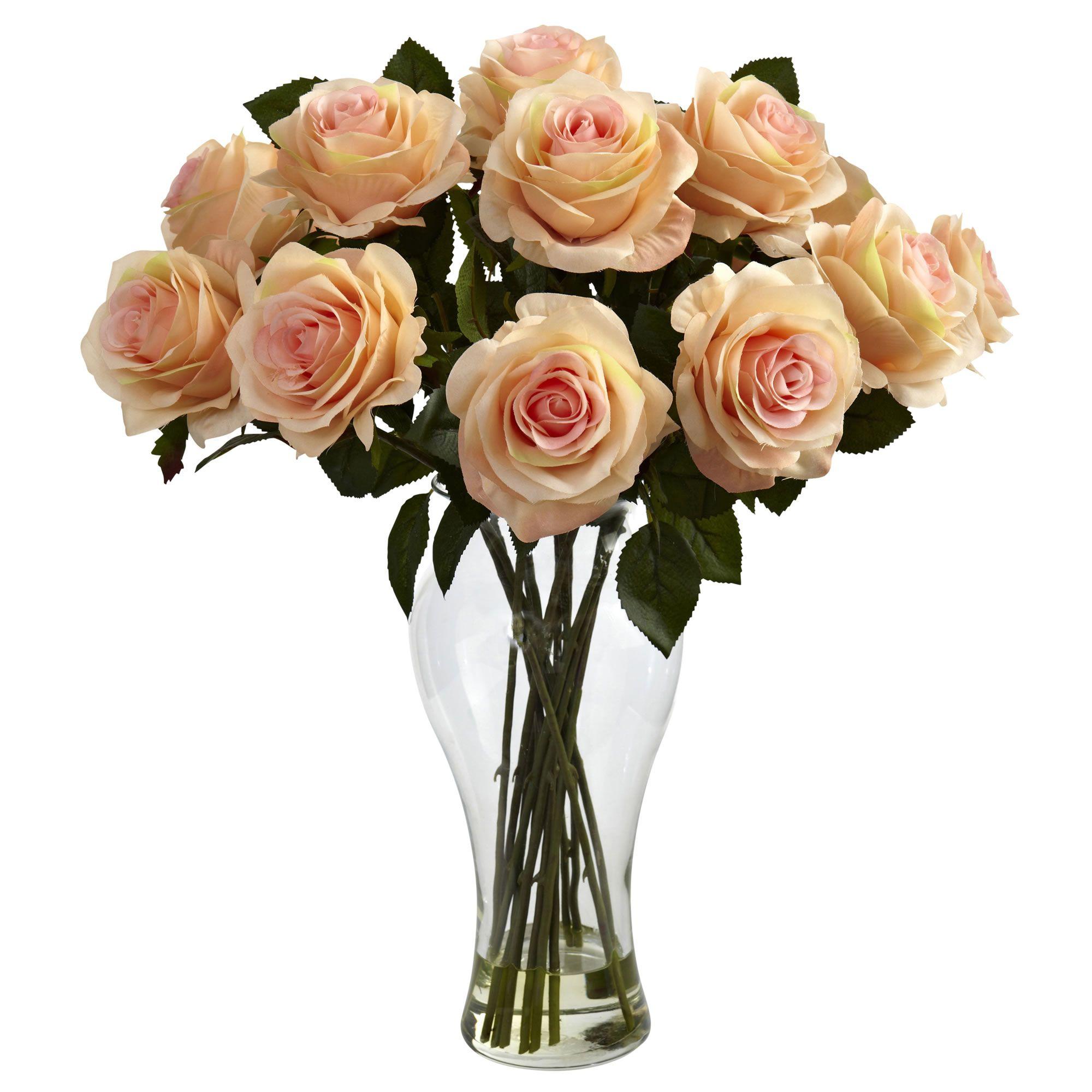 David Shaw Silverware Na Ltd Blooming Roses With Vase Peach Orange