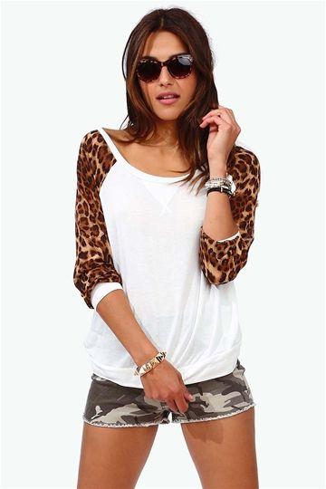 Leopard Sleeve Baseball Tee Animal Print Fashion