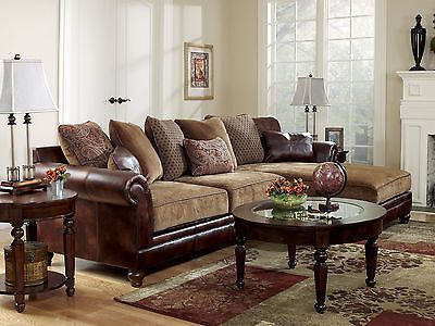Sanders Old World Faux Leather Chenille Sofa Couch Sectional Set Living Room