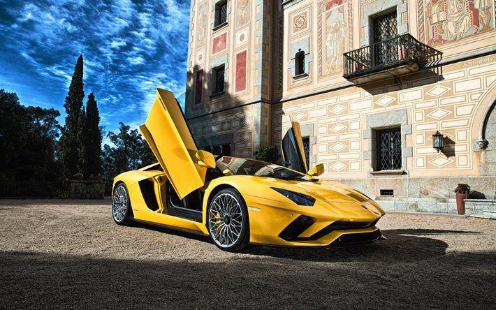 Download Wallpapers Lamborghini Aventador Supercar Yellow