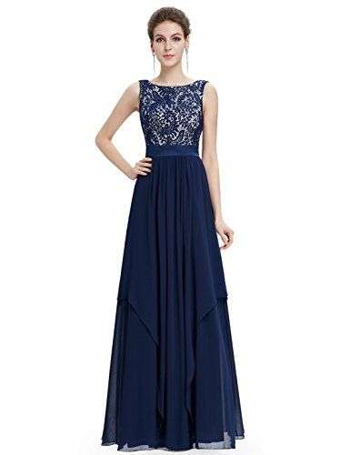 5a250b31356 Ever Pretty Juniors Sleeveless Floor Length Formal Lace Prom Gown 6 US Navy  Blue Ever-