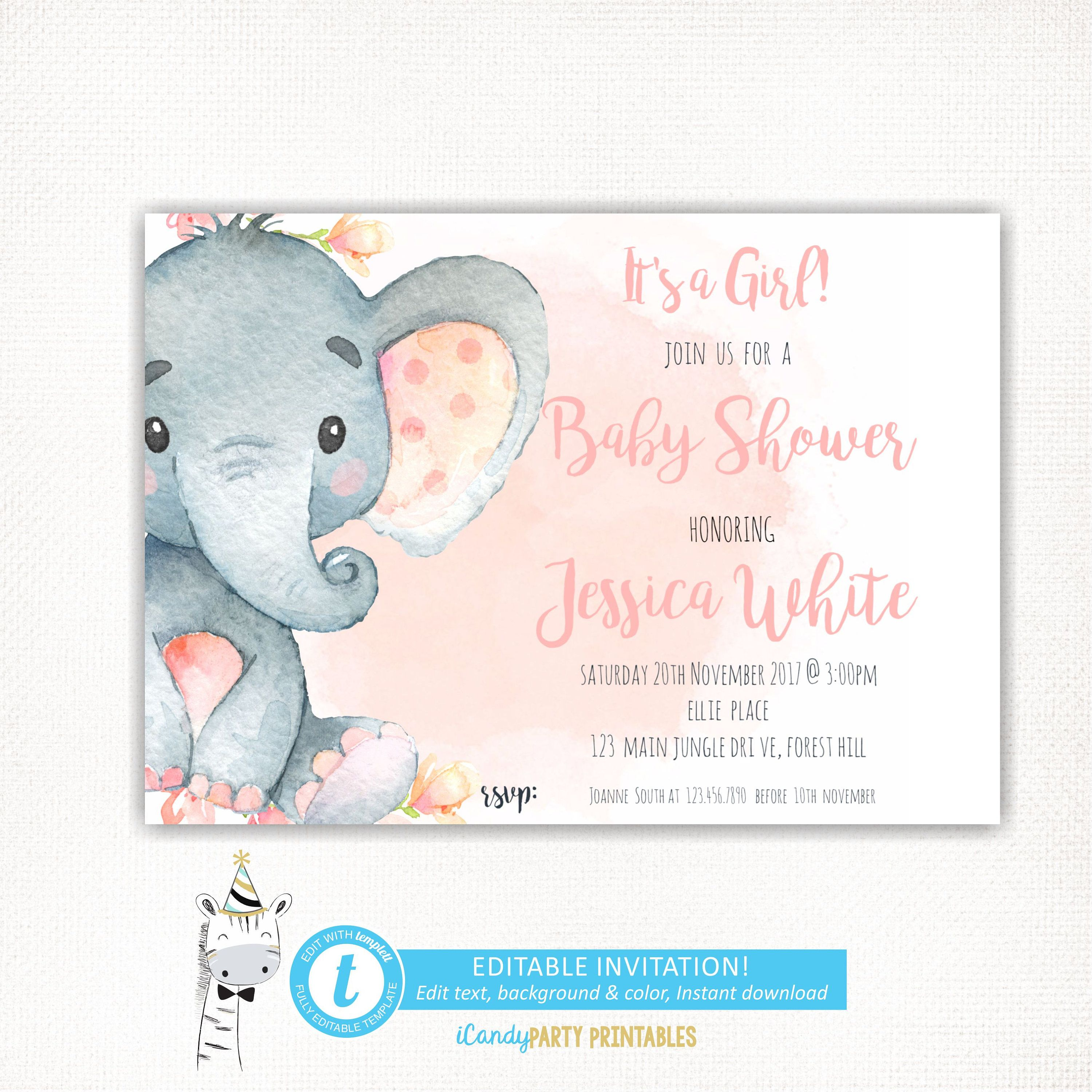 shower sprinkle gray invitation little elephant printable pin pink girl peanut and theme invitations baby customize