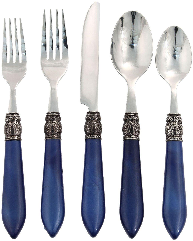 Amazon.com: Hampton Forge Argent Sophia 20-Piece Flatware Set, Cobalt: Kitchen & Dining