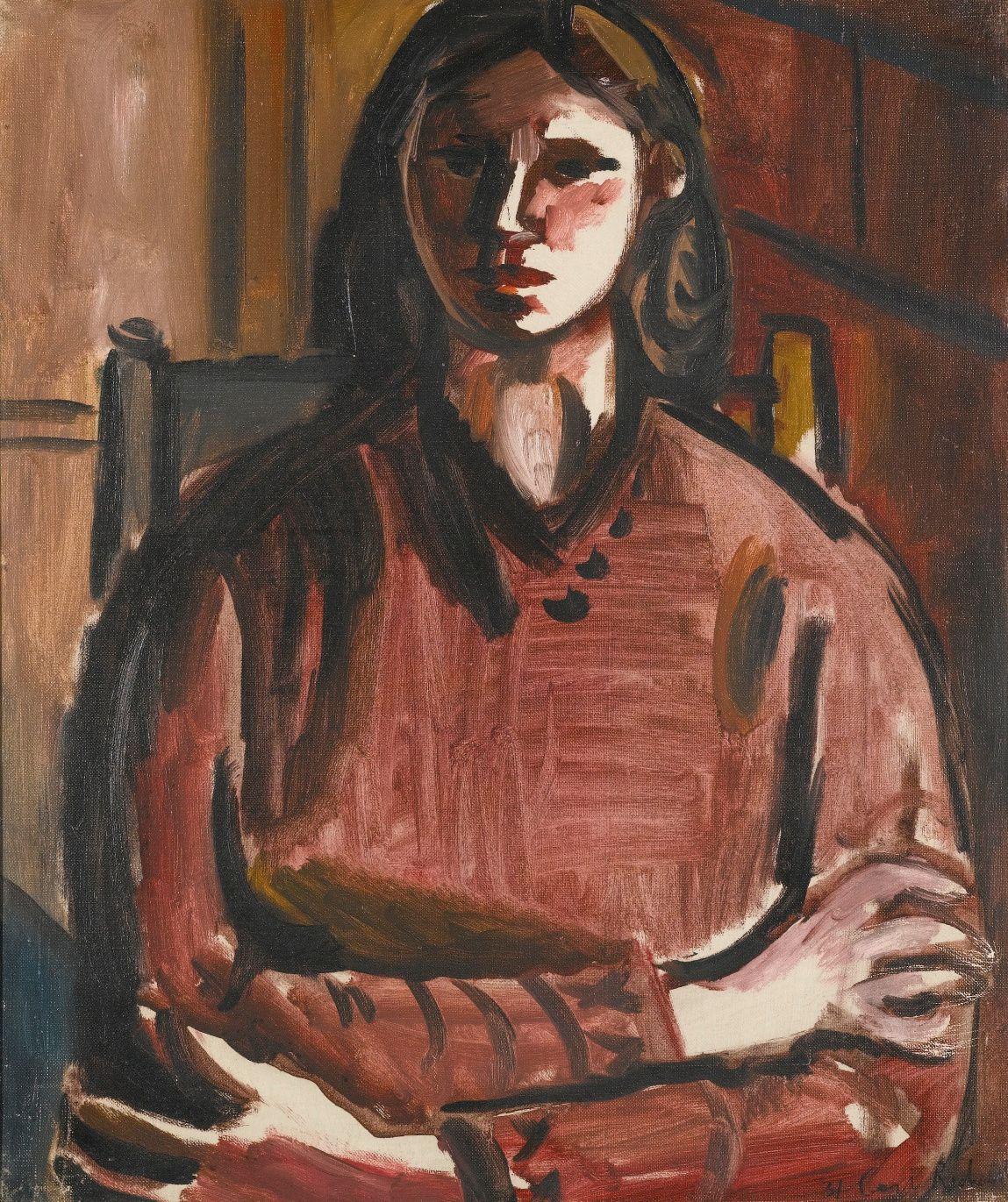 Ceri Richards (UK , Wales 1903-1971) -Portrait of Frances (1931)oil on canvas 61 x 50cm.