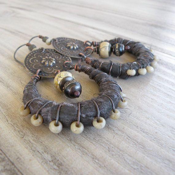 Silk Wrapped Hoop Earrings Tribal Bohemian Gypsy by GypsyIntent