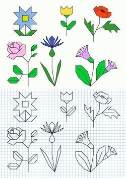 Aprende A Dibujar Flores En Papel Cuadriculado Fichas Para Ninos Dibujos En Cuadricula Papel Cuadriculado Cuadricula Para Dibujar