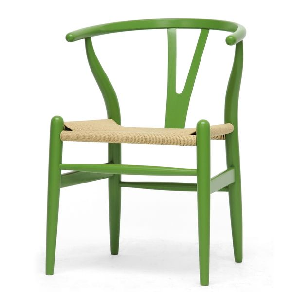 baxton studio wishbone modern green wood dining chair with light