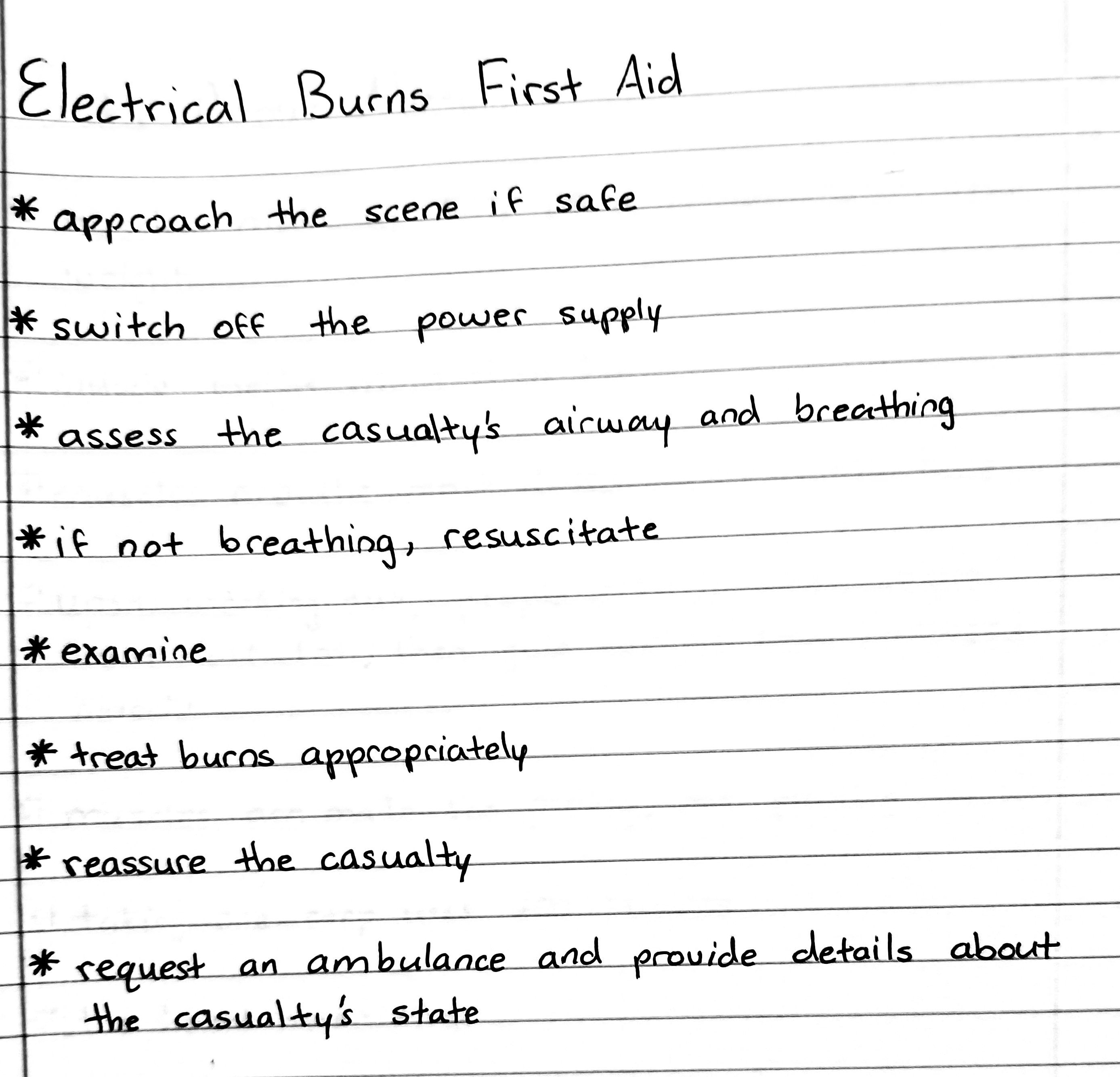 Electrical Burns First Aid