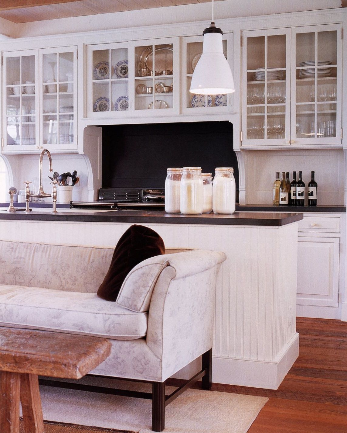 6 Tips For A Kitchen You Can Love For A Lifetime: Open Cabinets Above Range Sofa Next To Island A MOMENT