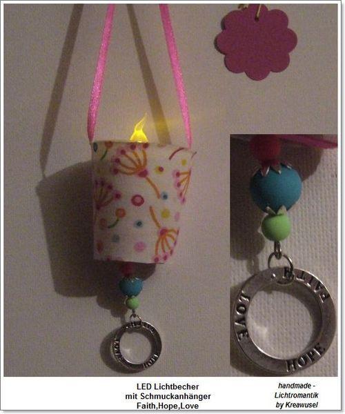Lichtbecher Pusteblume, Faith,Hope.Love, - LED  von ღKreawusel-Designღ auf DaWanda.com