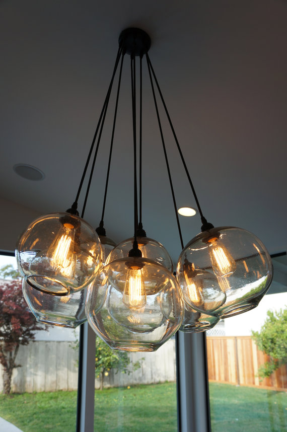 Modern Glass Globe Chandelier W Edison Lights By