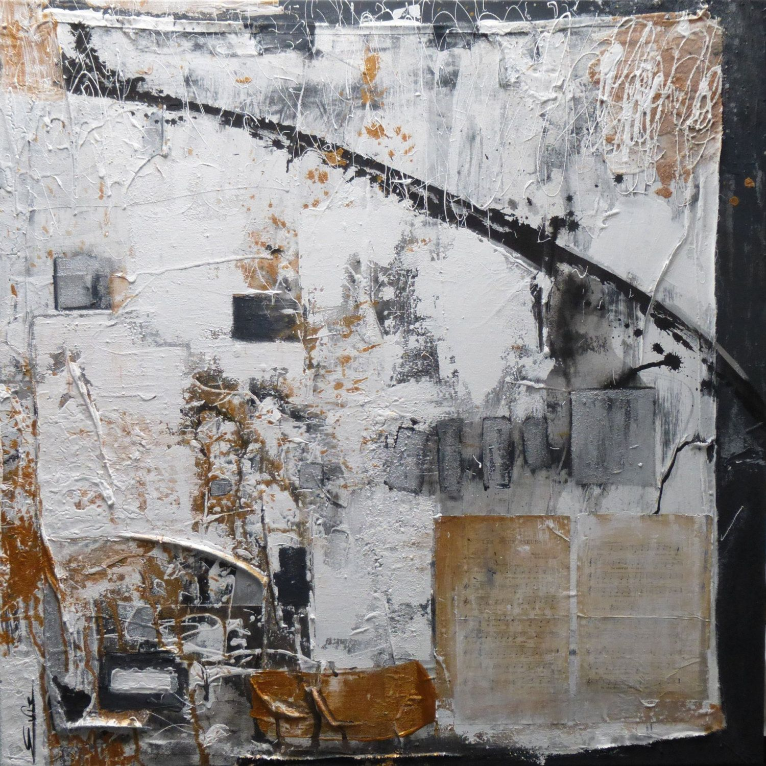 Les deux coeurs#100x100cm#mixed media#abstract#modern#old fabrics#old musicpaper