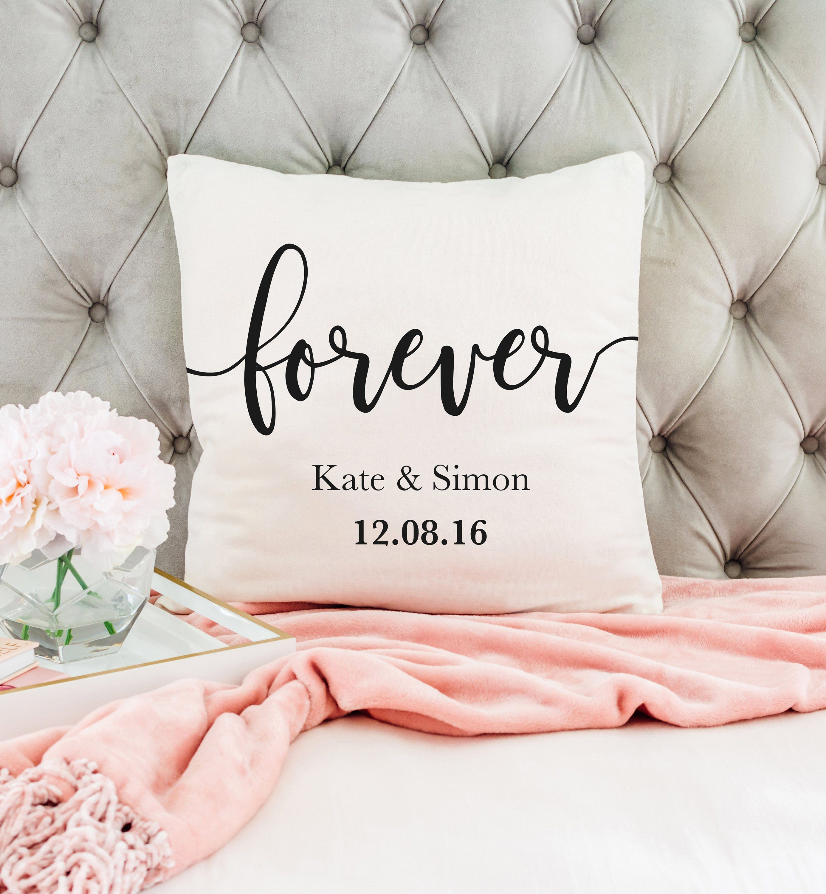 Personalised Together Forever Romantic Love Quote on Cushion Cover Wedding Gift