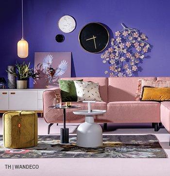Wanddecoratie Inspiratie Paars Interieur Hoekbank Thuis