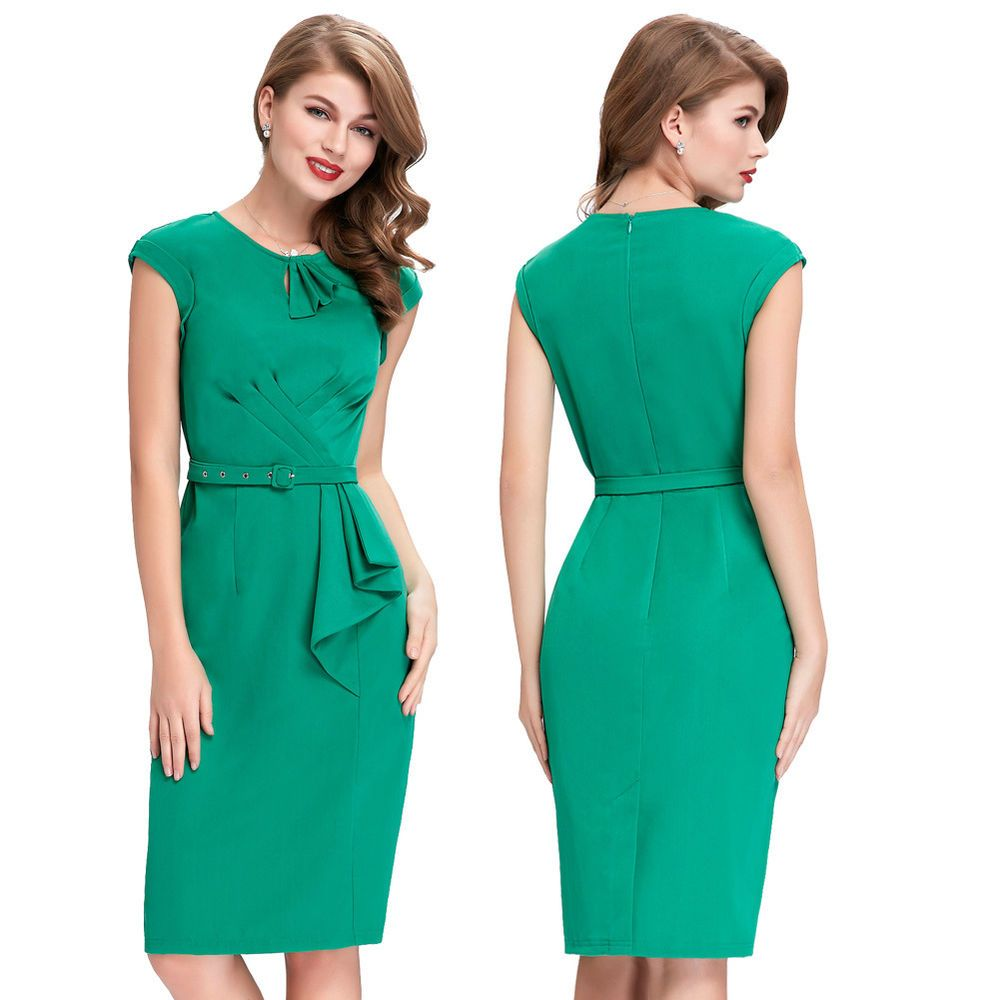 Womens Celeb Vintage Office Party Evening Tunic Sheath Bodycon ...