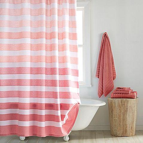 Dkny Highline Stripe Shower Curtain Striped Shower Curtains Coral Shower Curtains Shower Curtain