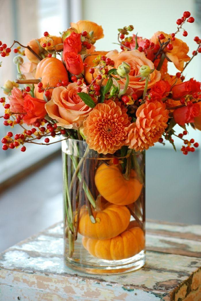 herbst deko ideen herbstblumen k rbisse glasgef hochzeit deko pinterest glasgef. Black Bedroom Furniture Sets. Home Design Ideas